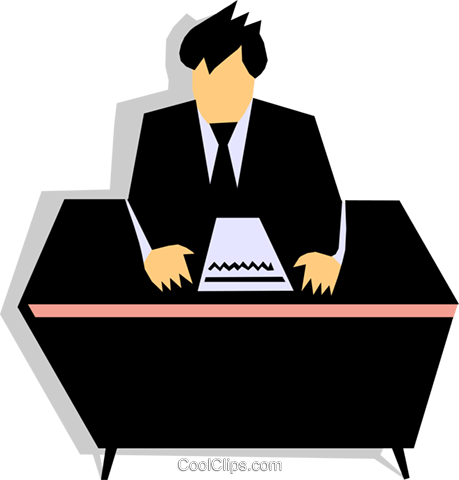 man at desk Royalty Free Vector Clip Art illustration - Man At Desk PNG