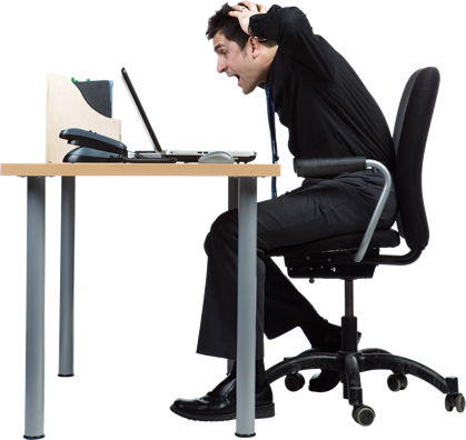 Man at desk yelling t his computer - Man At Desk PNG