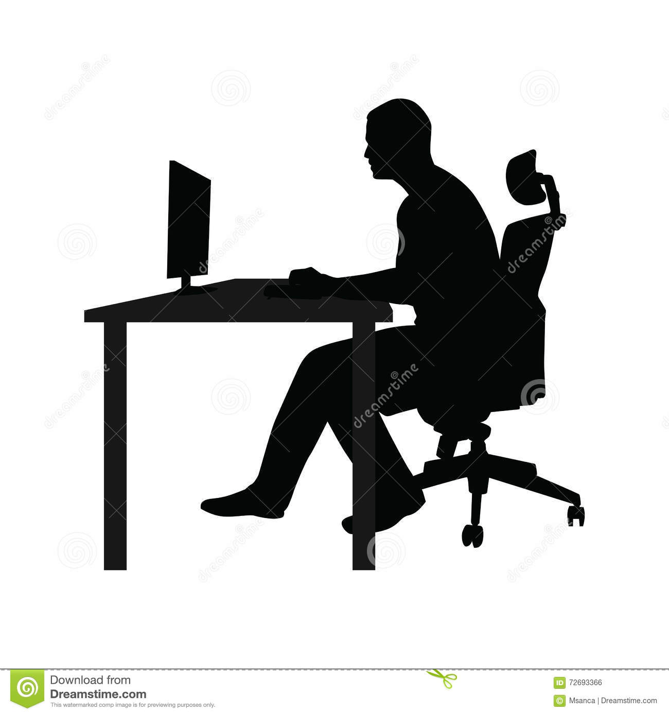 Man sitting on office chair at table and working - Man At Desk PNG