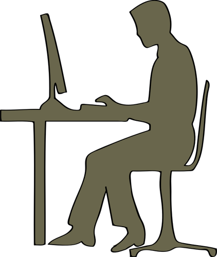 Silhouette of man sitting at computer desk vector clip art - Man At Desk PNG
