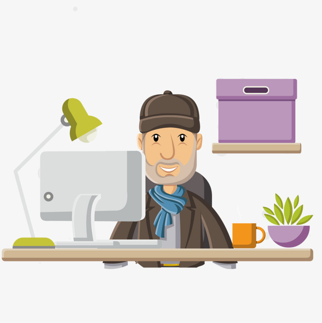 the old man at the desk, Desk, The Elderly, Cartoon PNG and Vector - Man At Desk PNG