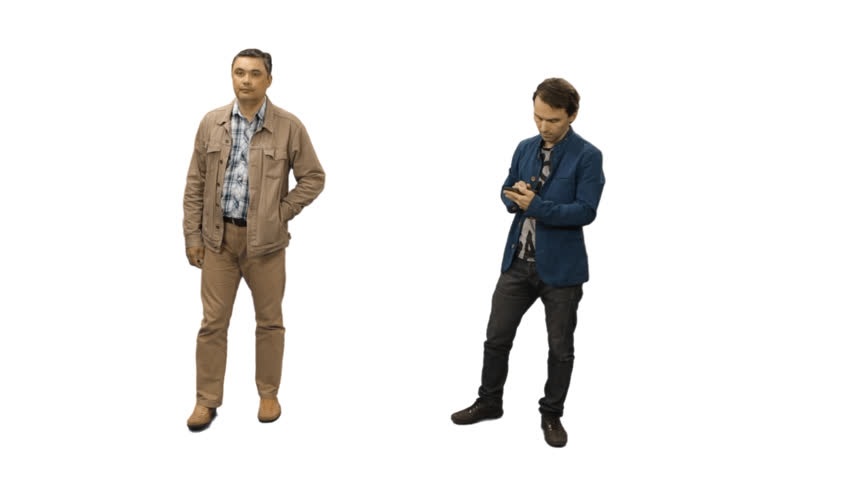 Two Men Standing With Smartphones. Full HD Footage With Alpha Channel,  Format ?? Mov, PNG Alpha Stock Footage Video 10462244 | Shutterstock - Man HD PNG
