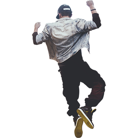 A man in high-top sneakers jumping for joy. - Man Jumping For Joy PNG
