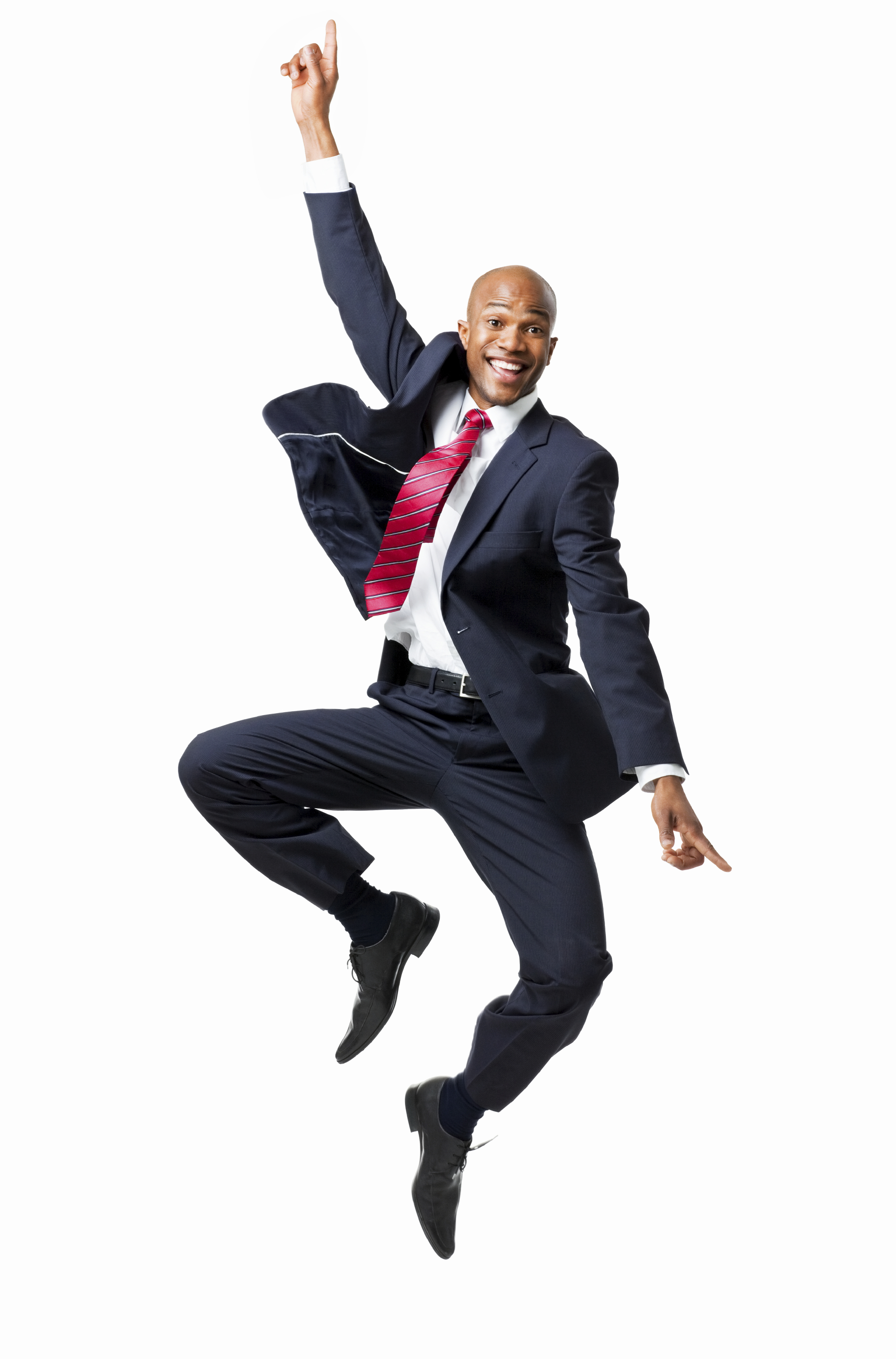 Businessman Excitedly Jumping In The Air - Isolated - Man Jumping For Joy PNG