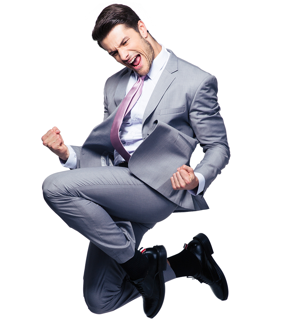 Excited Customer - Maxemail Demonstration | Emailcenter - Man Jumping For Joy PNG