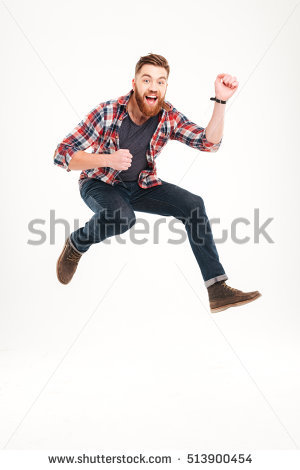 Smiling Joyful Man Jumping And Playing On Invisible Guitar Isolated On A  White Background - Man Jumping For Joy PNG