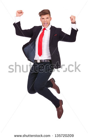 Young Business Man Jumping In The Air And Cheering Loud. Isolated On White  Background - Man Jumping For Joy PNG