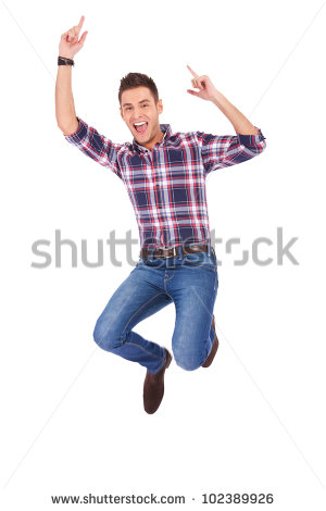 young casual man jumping for joy on white background - Man Jumping For Joy PNG