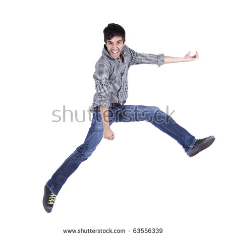 Young Man Jumping Isolated On White (some Motion Blur) - Man Jumping For Joy PNG