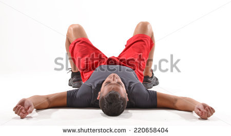 Exhausted athletic man lying down on white background. - Man Lying Down PNG