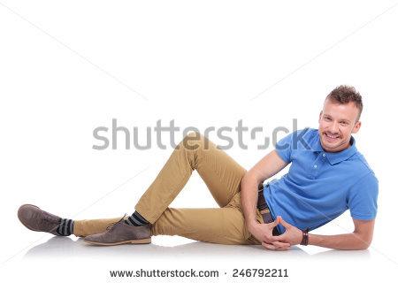 full length picture of a casual young man lying on the floor and smiling  for the - Man Lying Down PNG