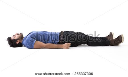 Indian man lying on floor. Full-length image. Isolated on white background. - Man Lying Down PNG