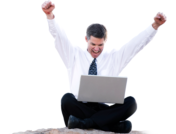 Anytime, Anywhere - Man Using Computer PNG