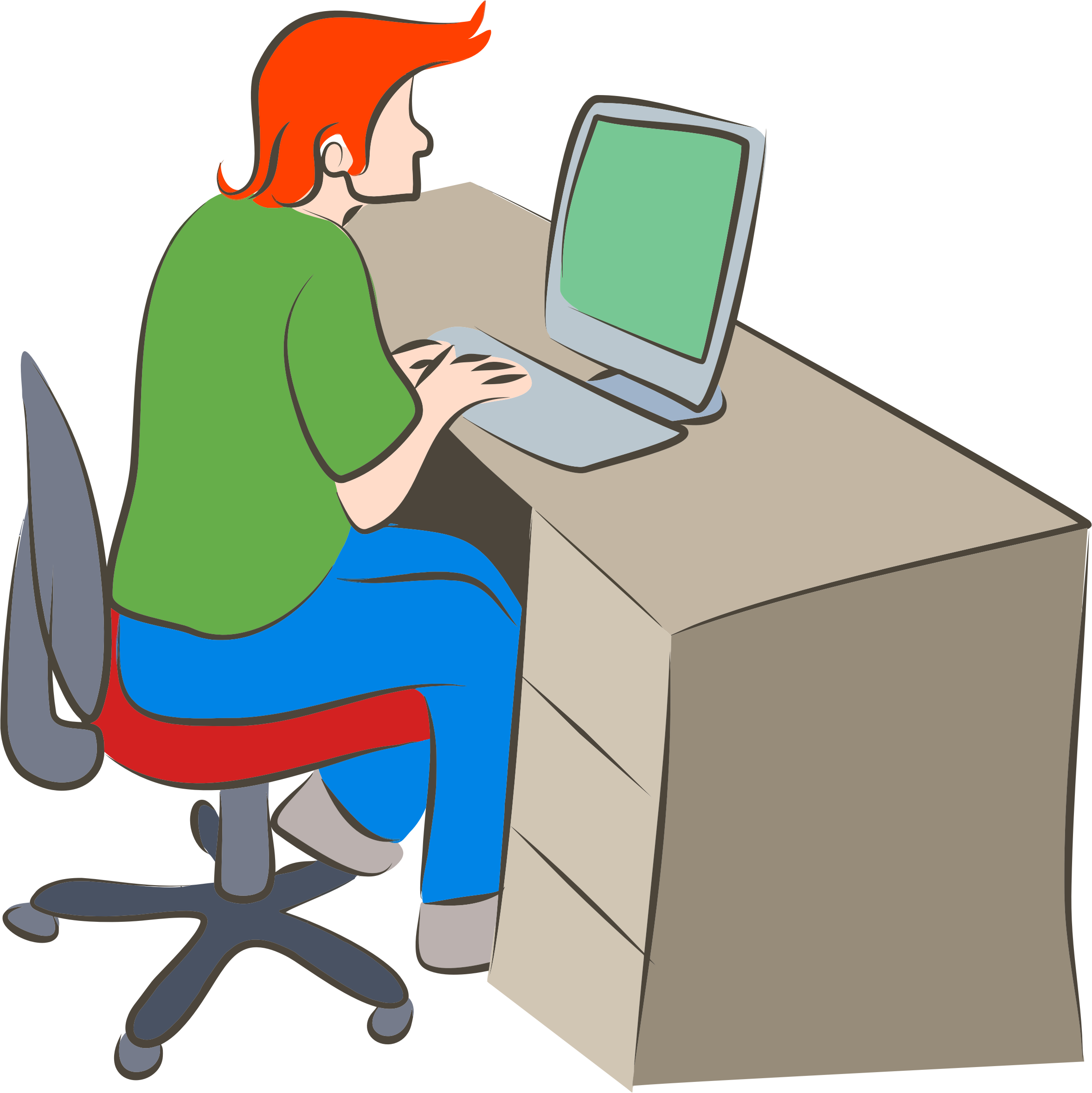 BIG IMAGE (PNG) - Man Using Computer PNG