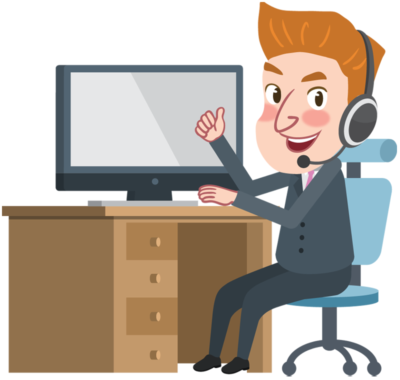 Cartoon Business Man Working With Computer And Thumbs Up Hand - Man Using Computer PNG