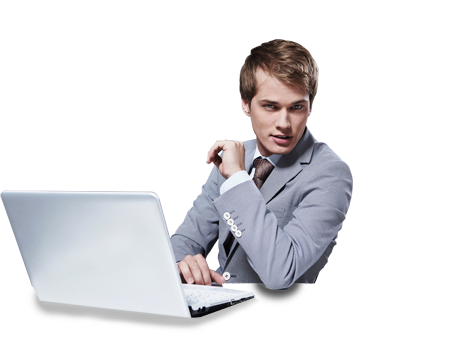 Filename: Cool-guy-on-pc.png - Man Using Computer PNG