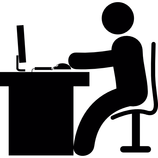 Man In Office Desk With Computer Free Icon - Man Using Computer PNG