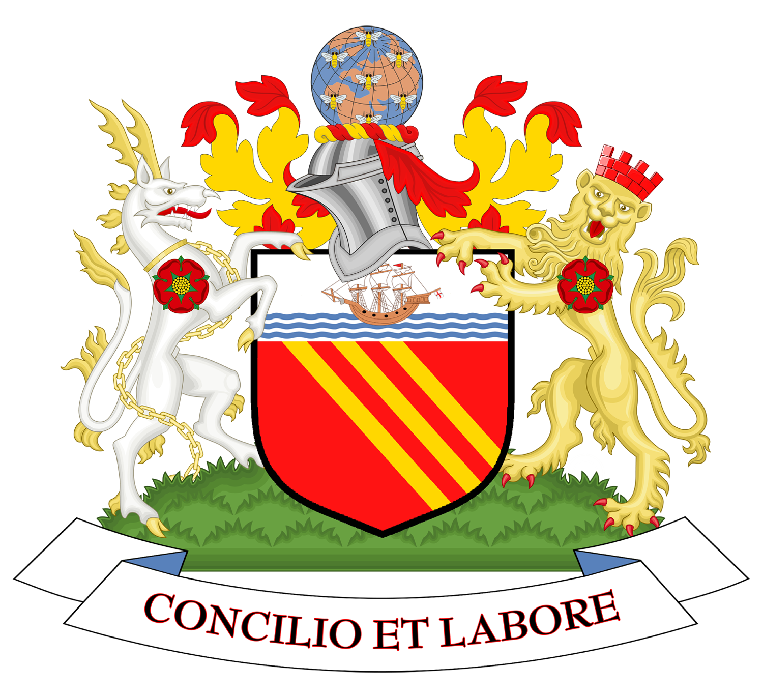 Coat of arms of Manchester City Council.png - Manchester City PNG