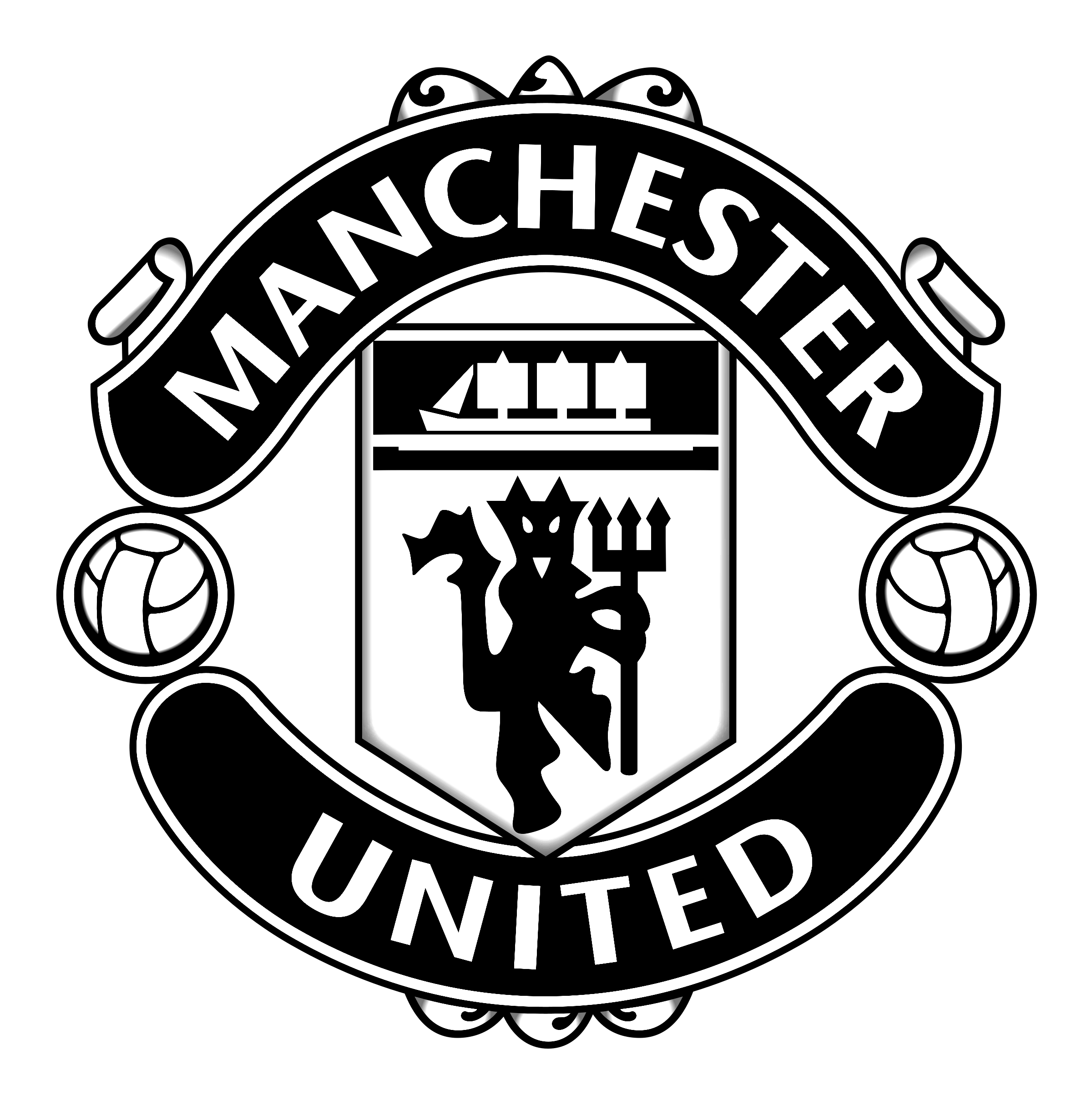 Manchester United logo black and white - Manchester United PNG