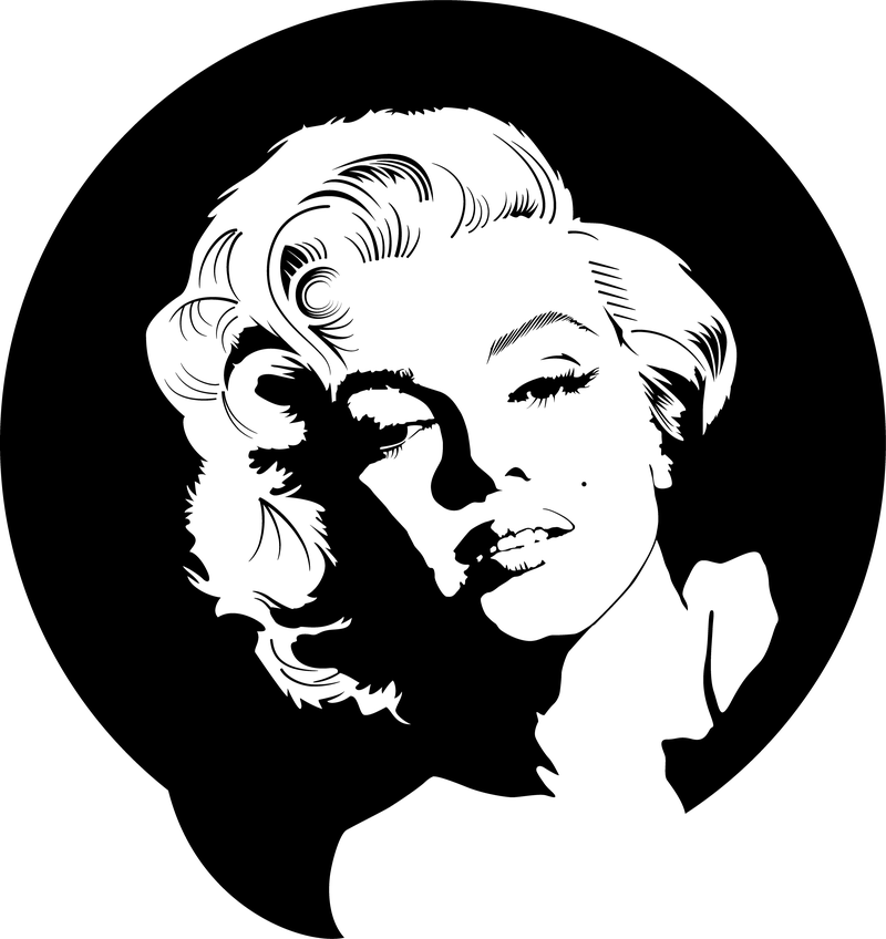 Marilyn Monroe Vector in black and white - Marilyn Monroe PNG