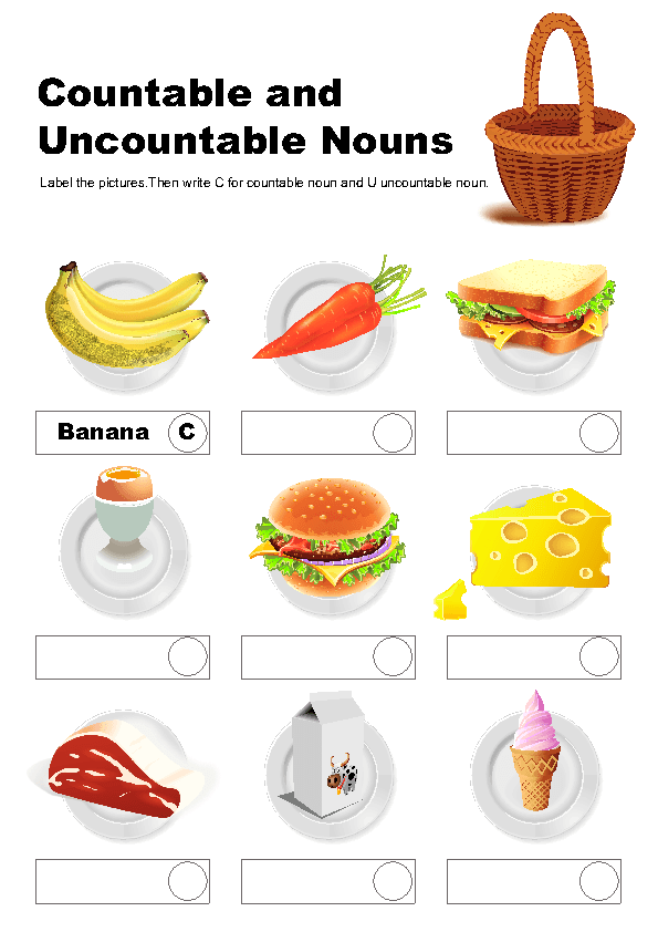 A fun ESL grammar exercise worksheet with pictures (food and drinks) for  kids to study and practise countable and uncountable nouns. - Mass Nouns PNG