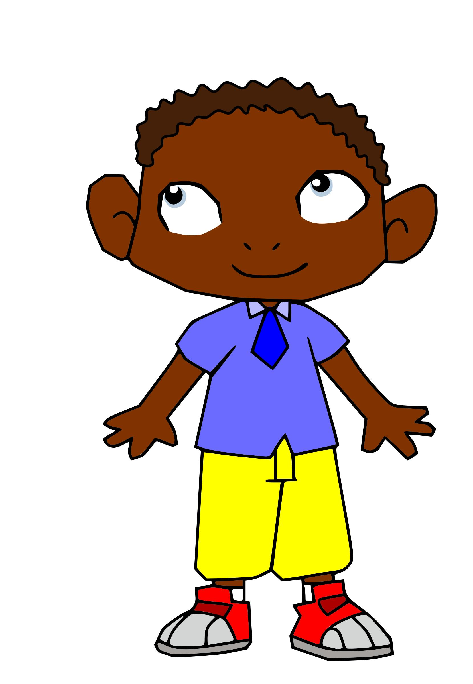 Cartoon Boy with rather cornery ears and fingers but who does not care - Mean Boy PNG