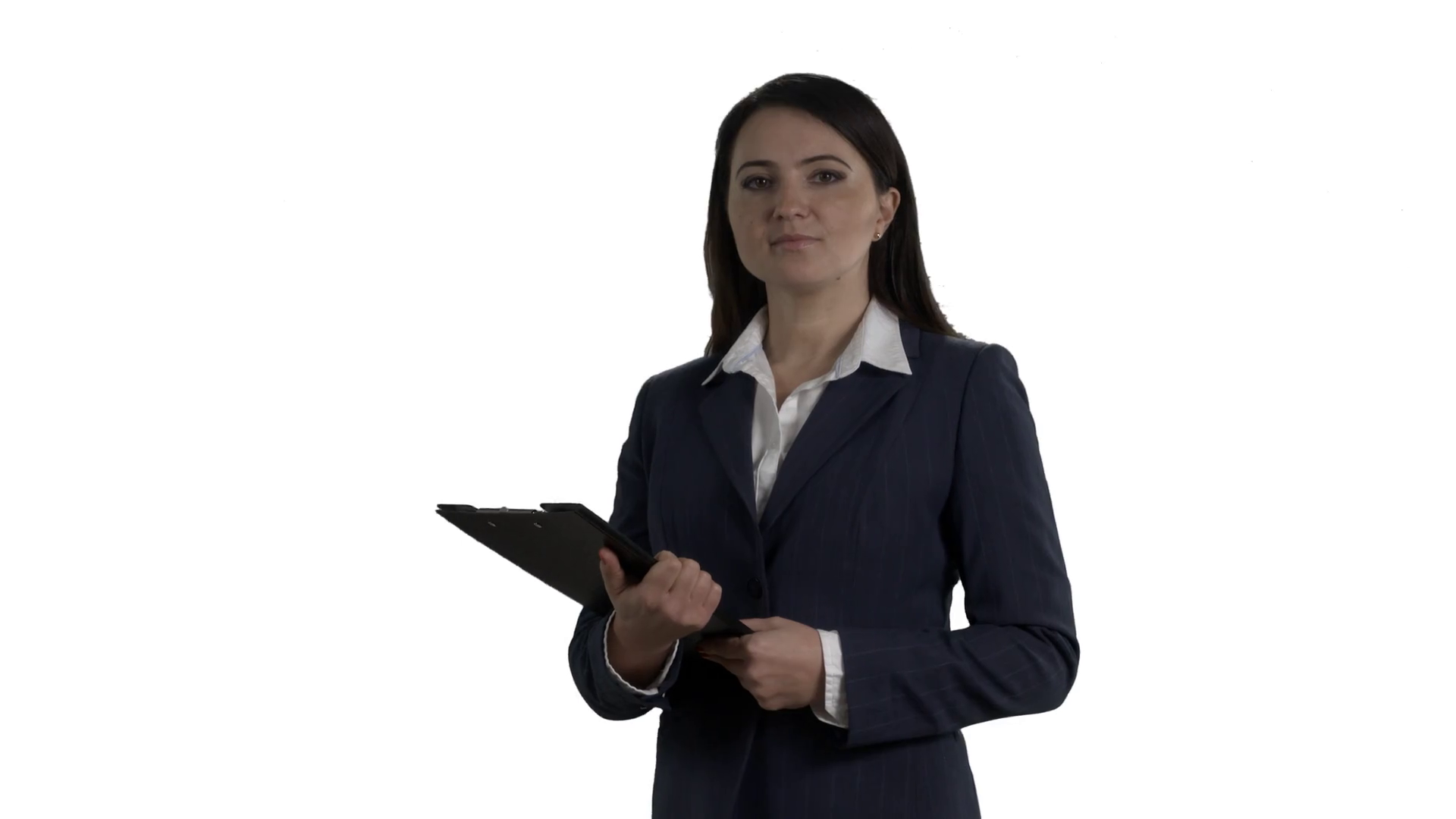 Business woman with folder for papers during a presentation or meeting  talking to camera on white background. 4k footage PNG with alpha channel. - Meeting HD PNG