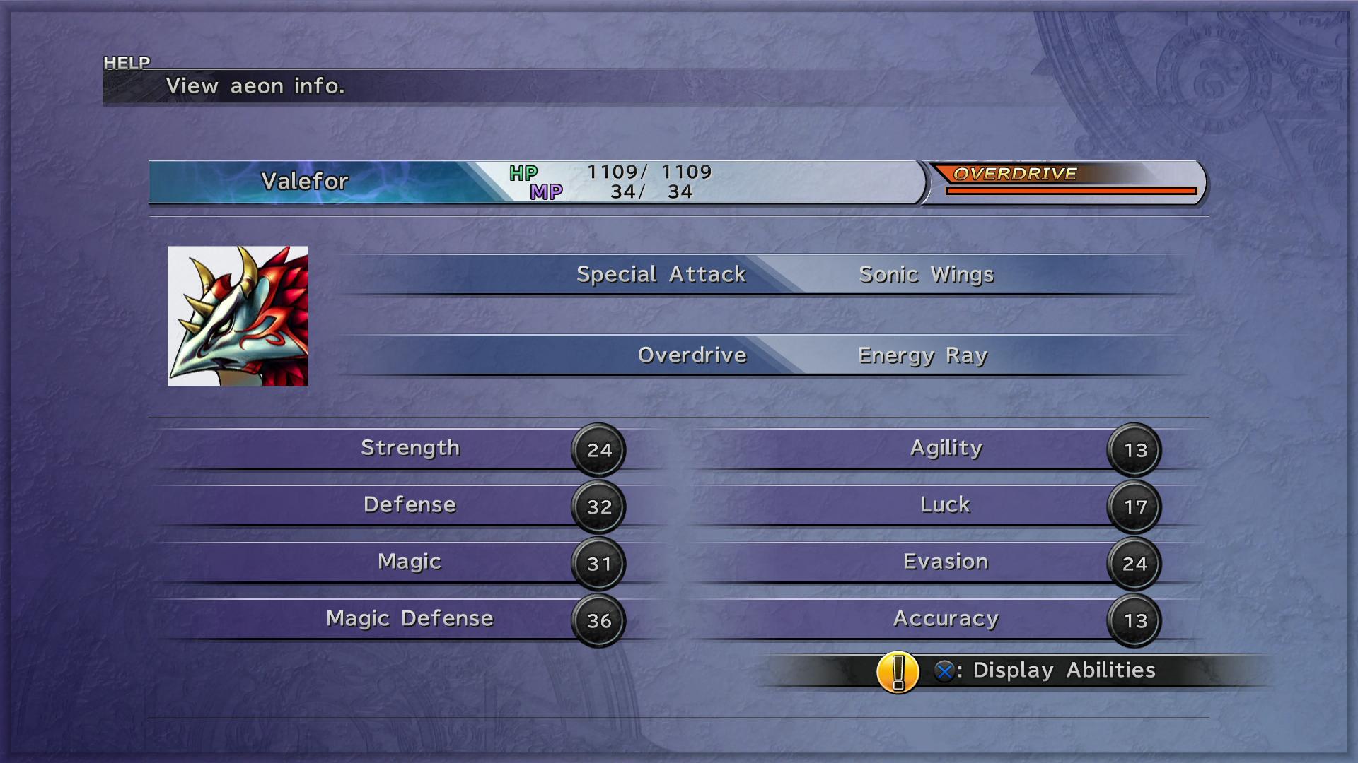 FFX Aeons Menu PS3.png - Menu HD PNG