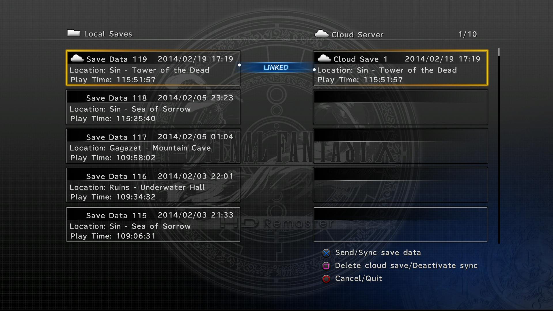 FFX HD Data Transfer.png - Menu HD PNG