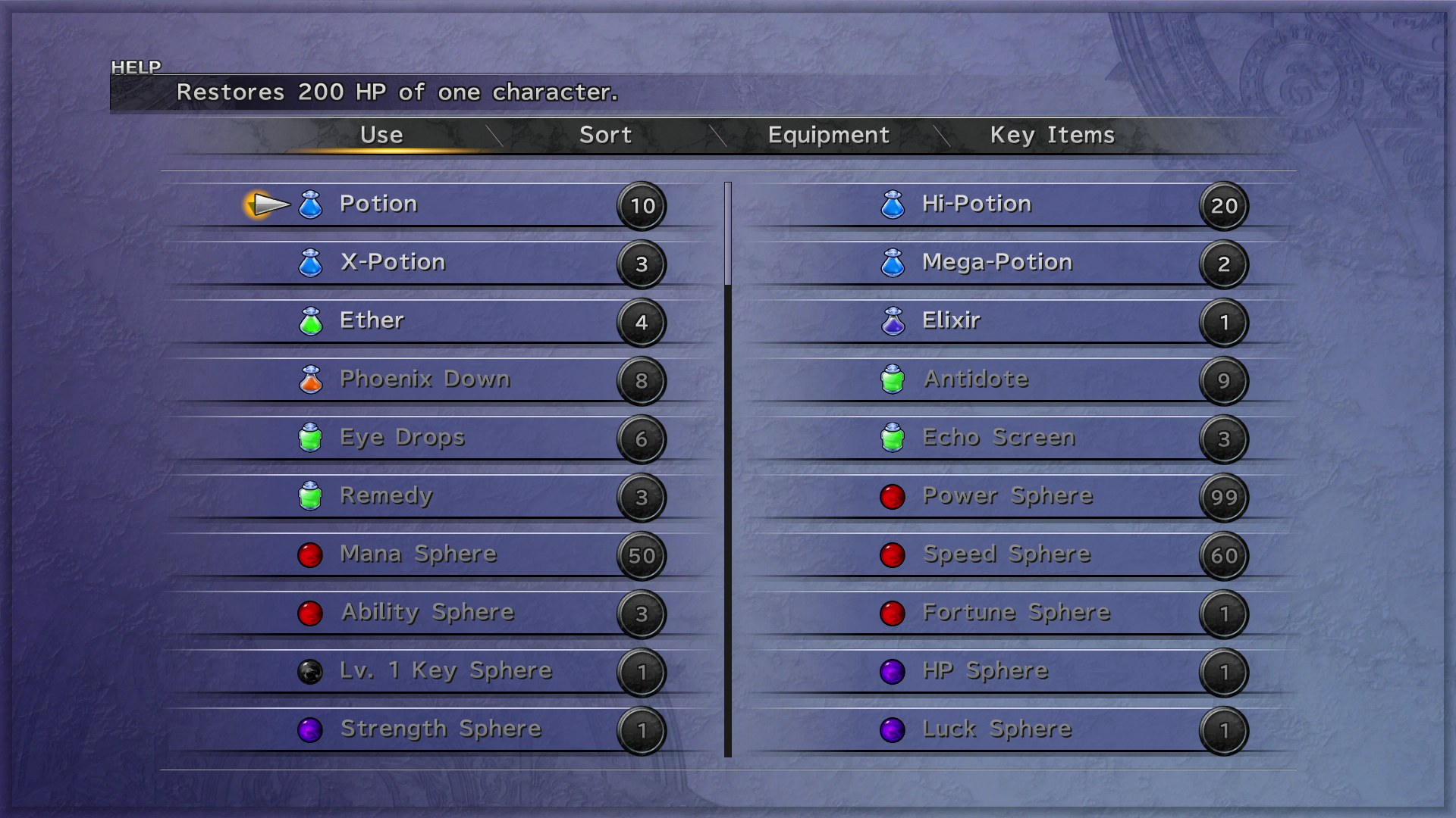 FFX Items Menu PS3.png - Menu HD PNG
