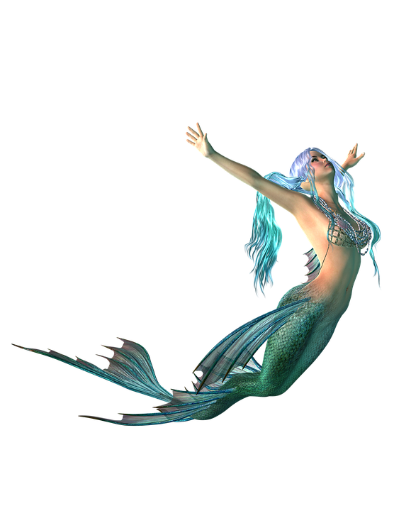 Mermaid, Png, Transparent Background, Fantasy, Blue - Mermaid PNG