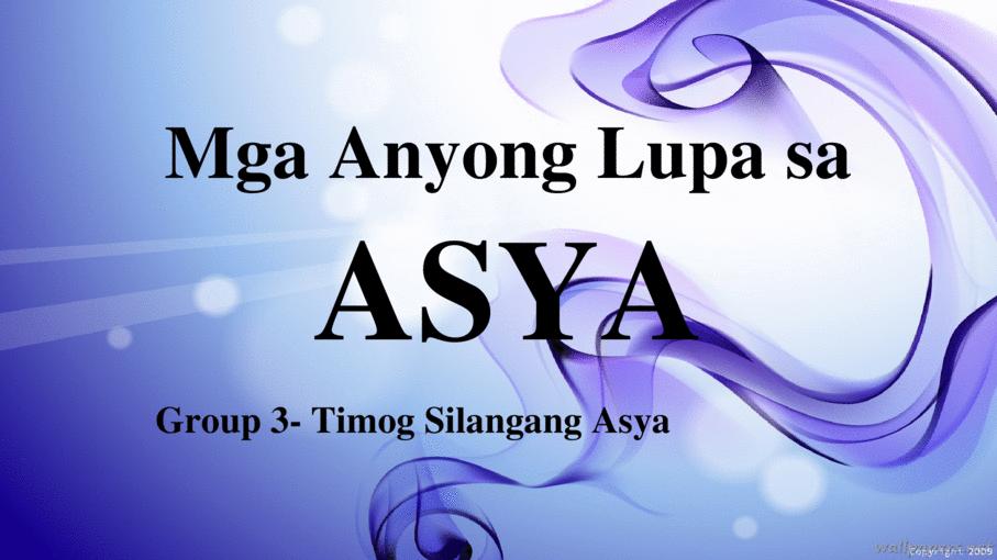 Anyong lupa sa asya (final) - Page 1 - Mga Anyong Lupa PNG