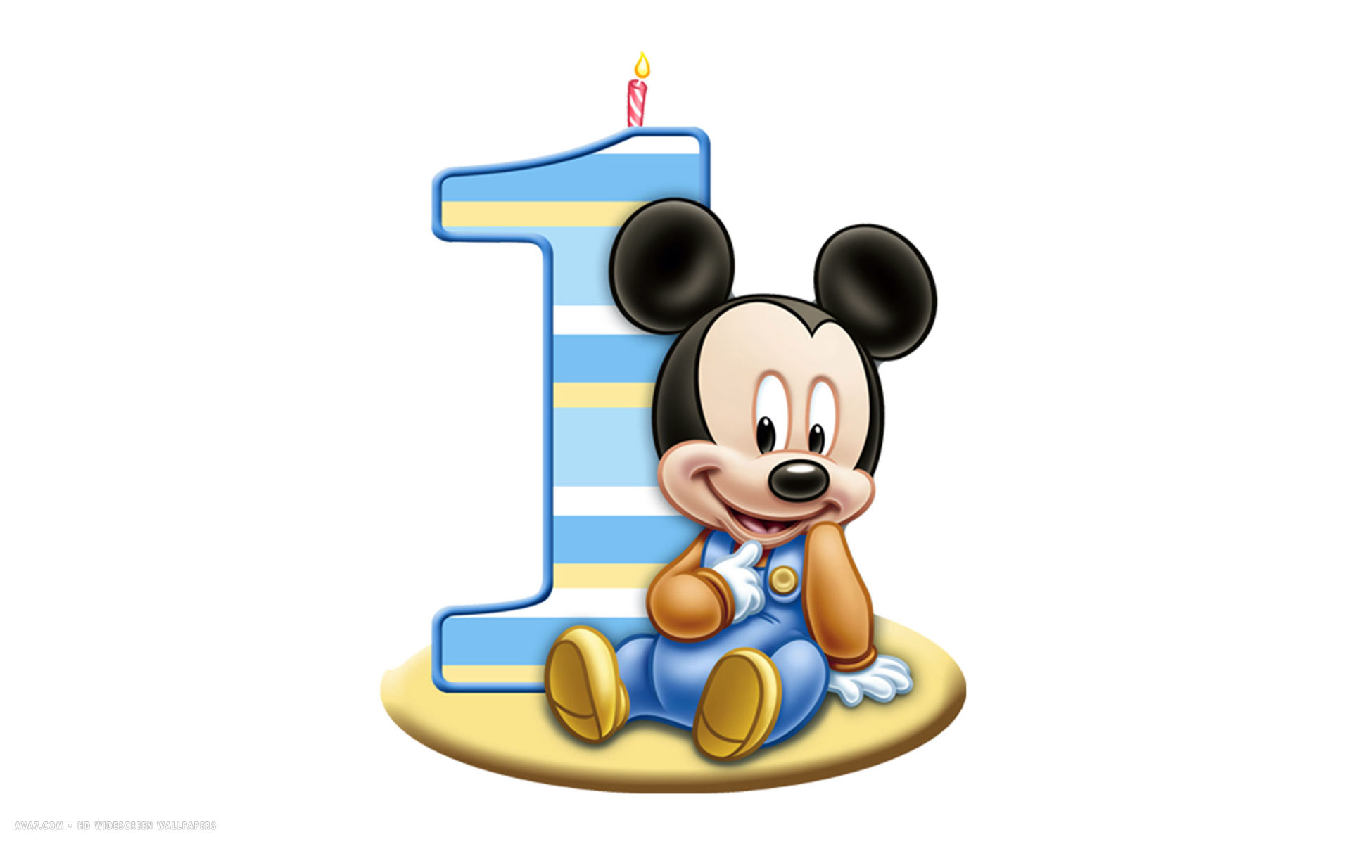 happy birthday 1st number candle mickey mouse disney white simple hd  widescreen wallpaper - Mickey Head PNG HD