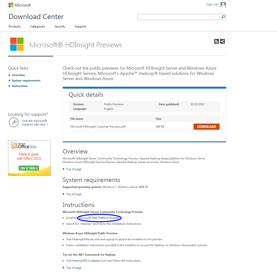 Once you click the link it will guide you to the Download Center. Now, go  to the Instructions heading and click on Microsoft Web Platform Installer. - Microsoft PNG HD Website