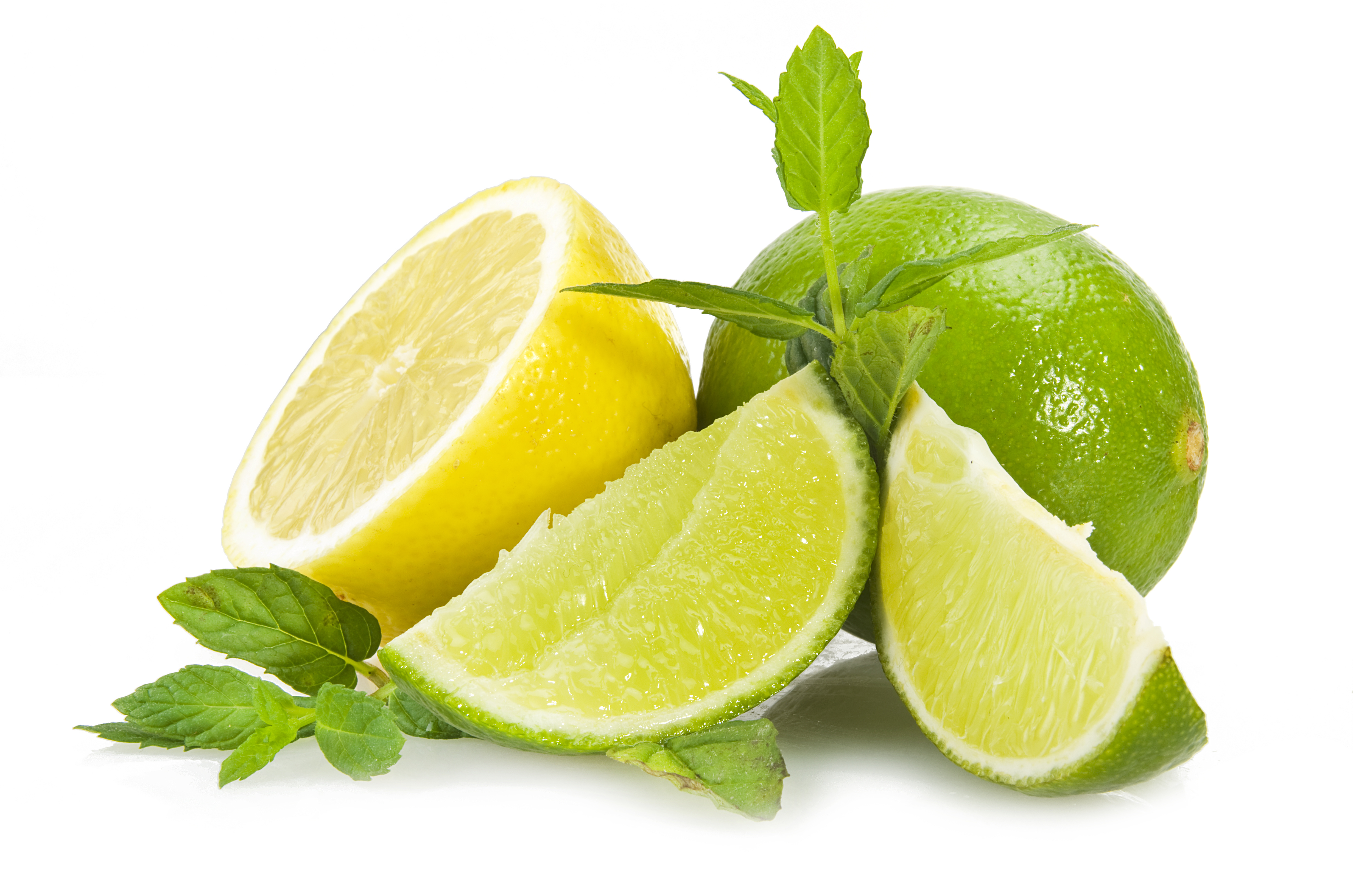 Lime,lemon and fresh leaves of mint on white - Lime HD PNG - Mint HD PNG