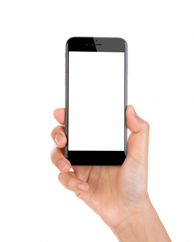 Hand holding a smartphone with blank screen - Mobile In Hand PNG
