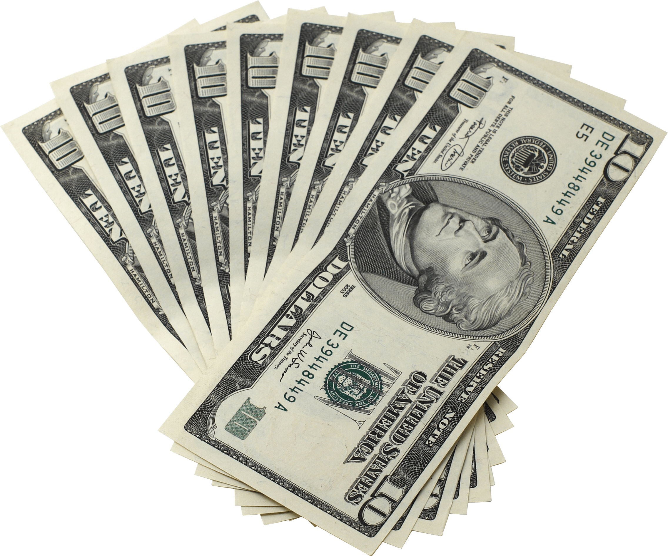 Dollar Bills Ten Money - Money Bills PNG