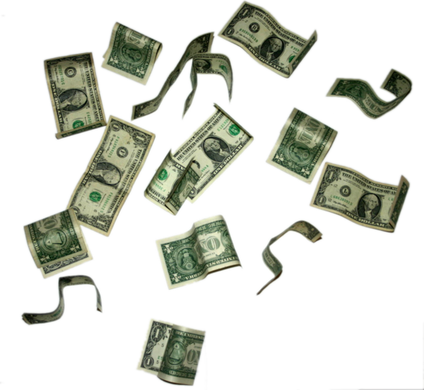 flying dollar bills by teilie PlusPng.com  - Money Bills PNG