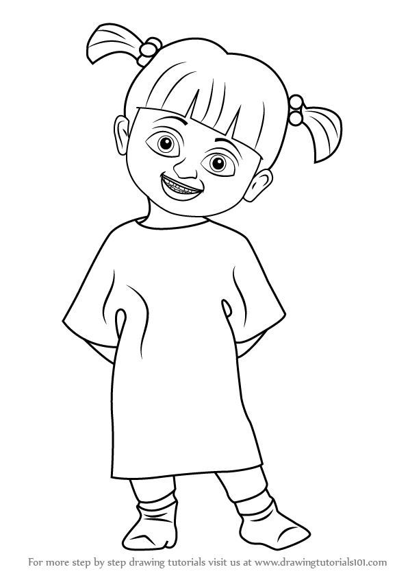 Monster inc png black and white transparent monster inc for Monsters inc boo coloring pages