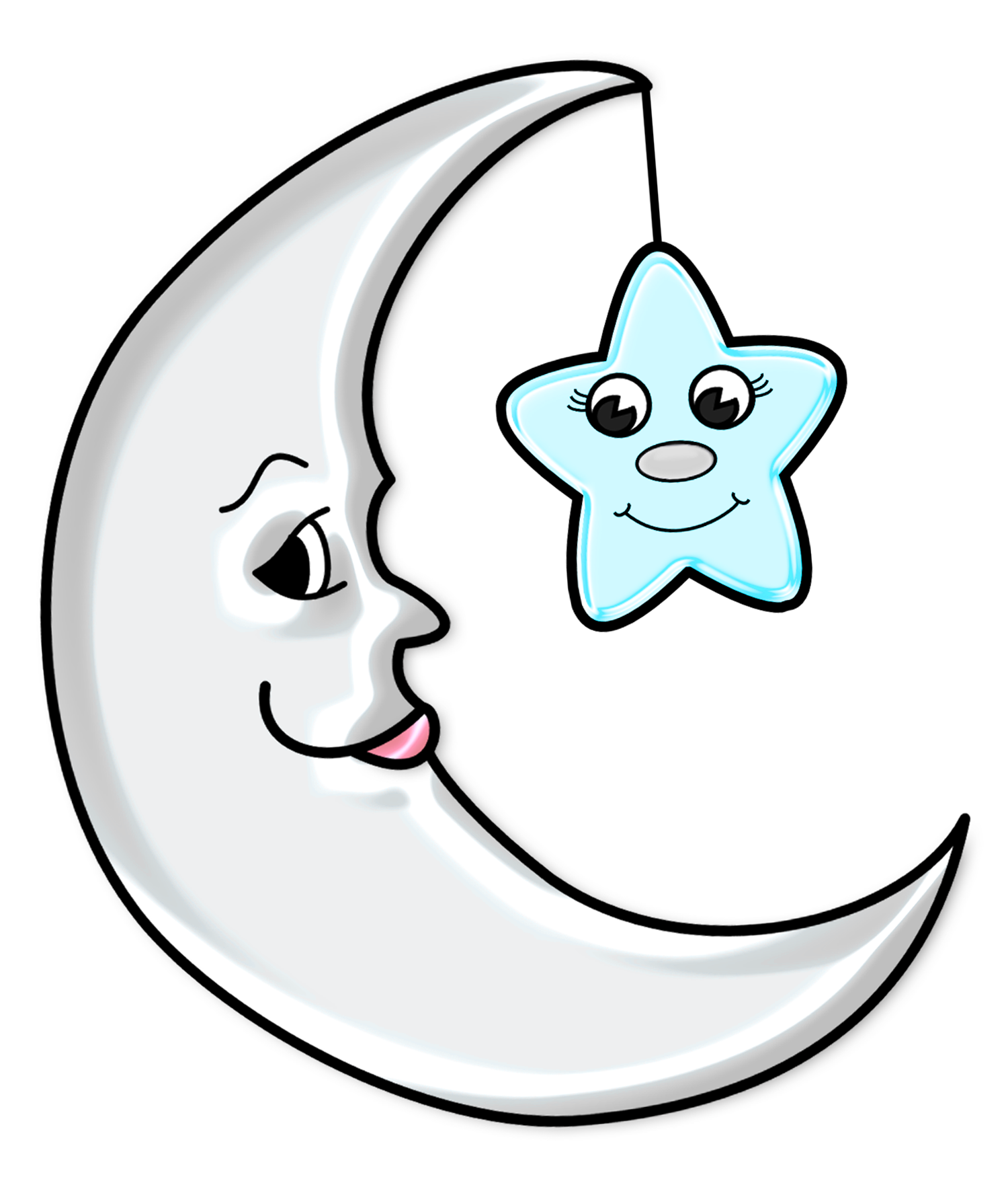 1500x1759 Cute Moon with Star Transparent PNG Pictureu200b Gallery - Moon And Star PNG HD