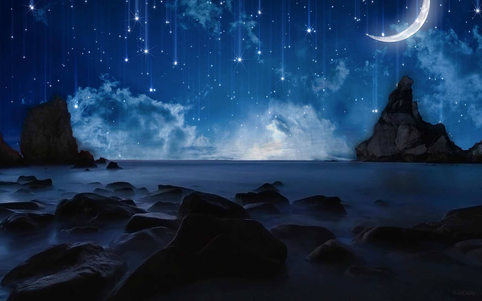 Artistic - Ocean Artistic Space Rock Star Moon Sky Wallpaper - Moon And Star PNG HD