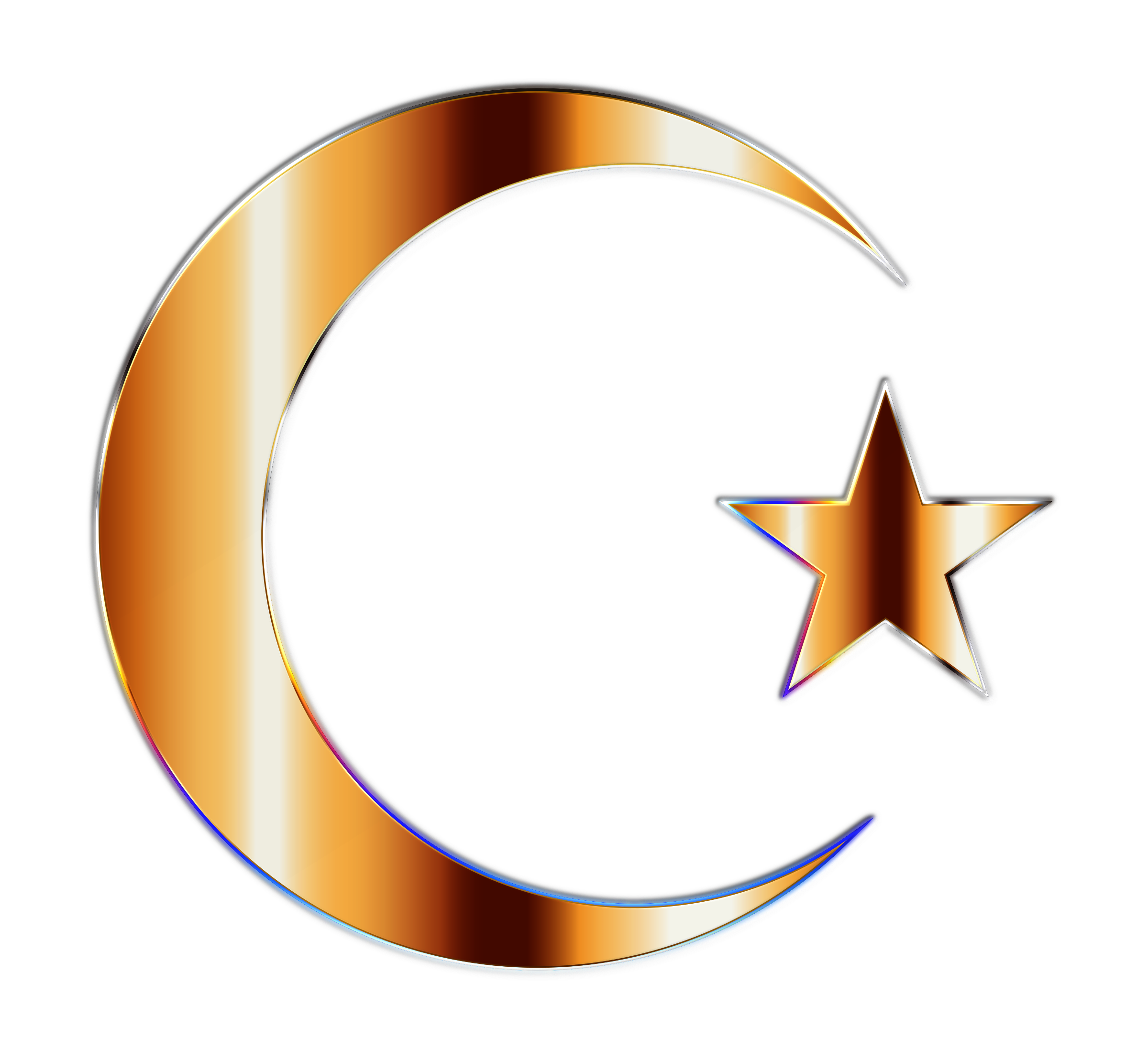 Clipart - Golden Crescent Moon And Star - Moon And Star PNG HD