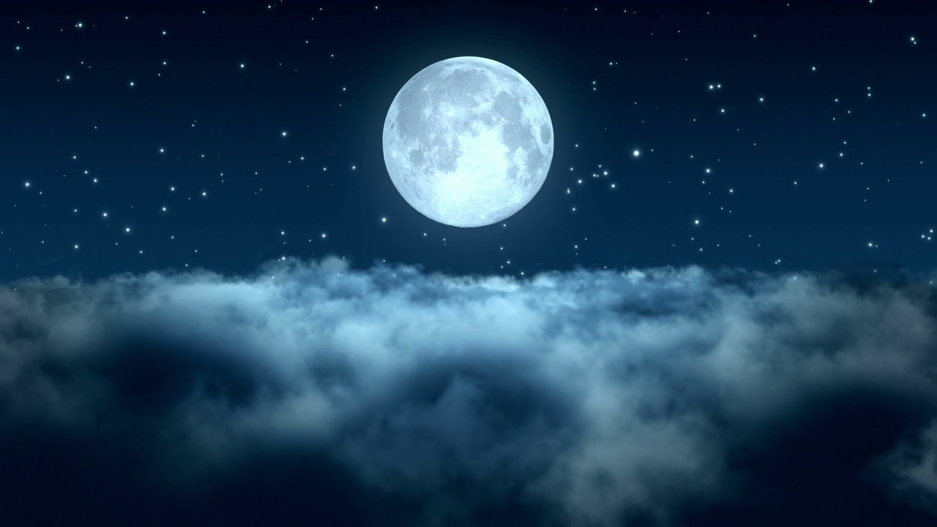 Flying Through Dense Clouds at Night with Beautiful Full Moon and Twinkling  Stars in The Background | Seamless Looping | Motion Backdrop | Full HD 1920  X PlusPng.com  - Moon And Star PNG HD