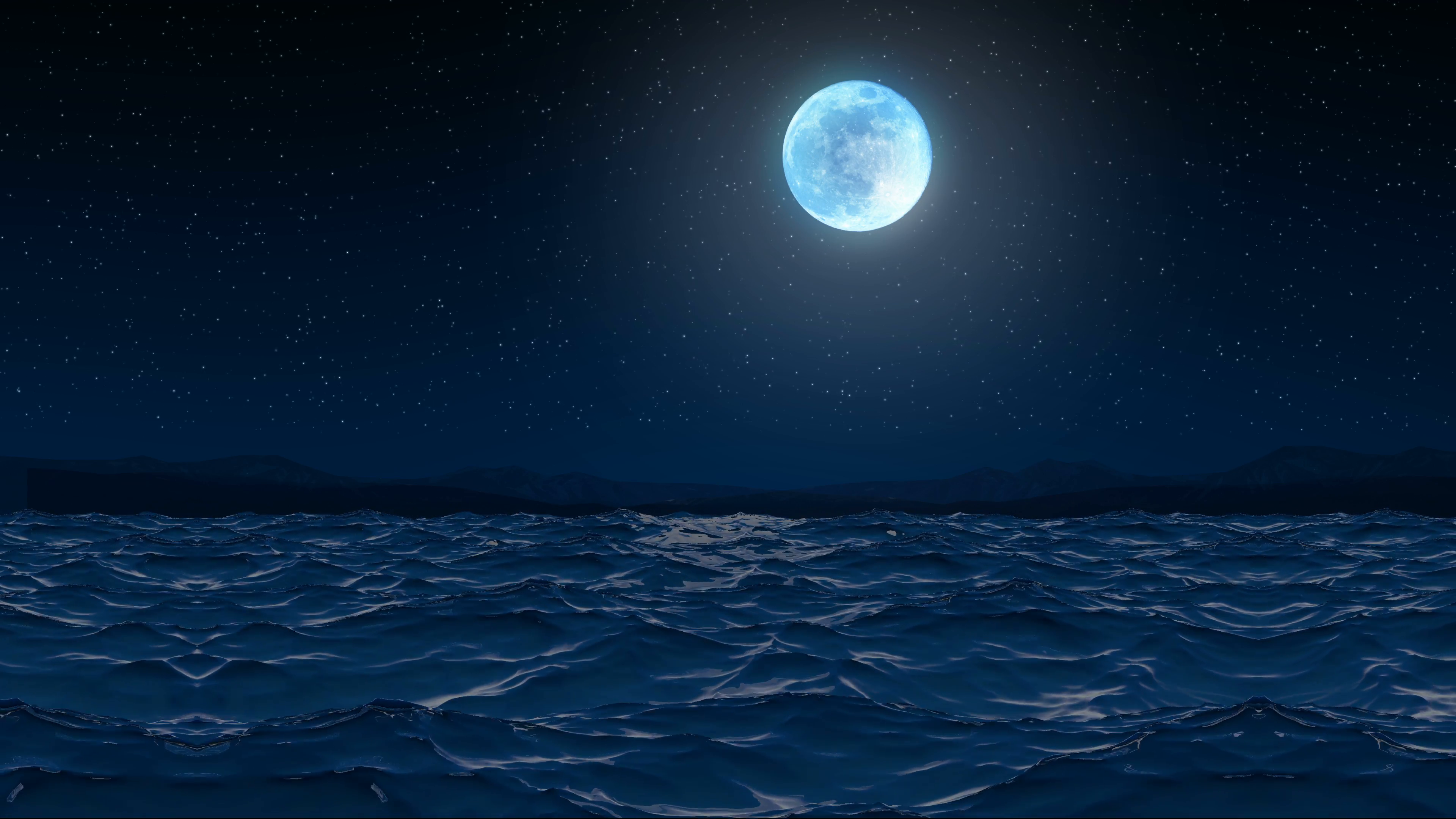 Seamless 3d Animation sea wave and ripple on the seaside shore beach at  night with sparkling stars and moon glowing in 4k ultra hd Motion  Background - PlusPng.com  - Moon And Star PNG HD