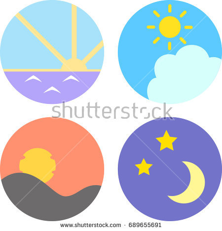 Icon set for morning, noon, evening, night - Morning Noon And Night PNG
