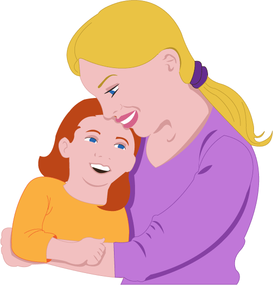 Mother And Daughter Clipart. Girl Hugging Mom Clipart - Mother And Daughter Hug PNG