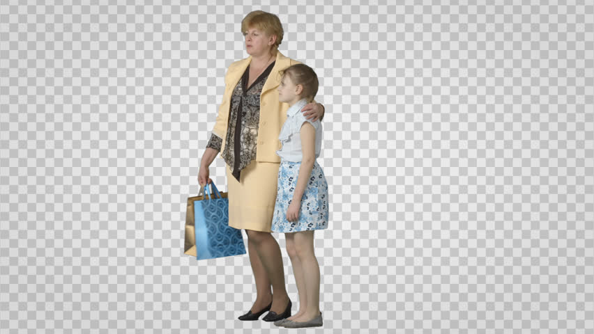 Woman u0026 girl with shopping package stand, wait, talk. Green screen footage. - Mother And Daughter Hug PNG