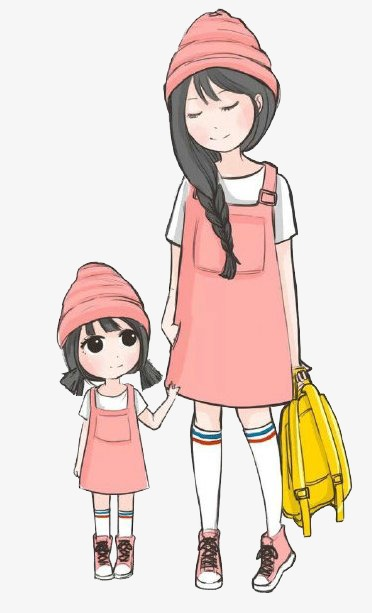 Mother and daughter, Cartoon, Character Free PNG Image - Mother And Daughter PNG