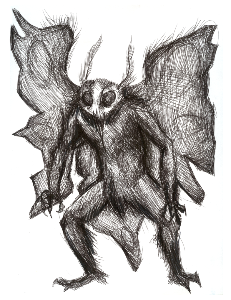 Mothman in pen by SabreBash PlusPng.com  - Mothman PNG