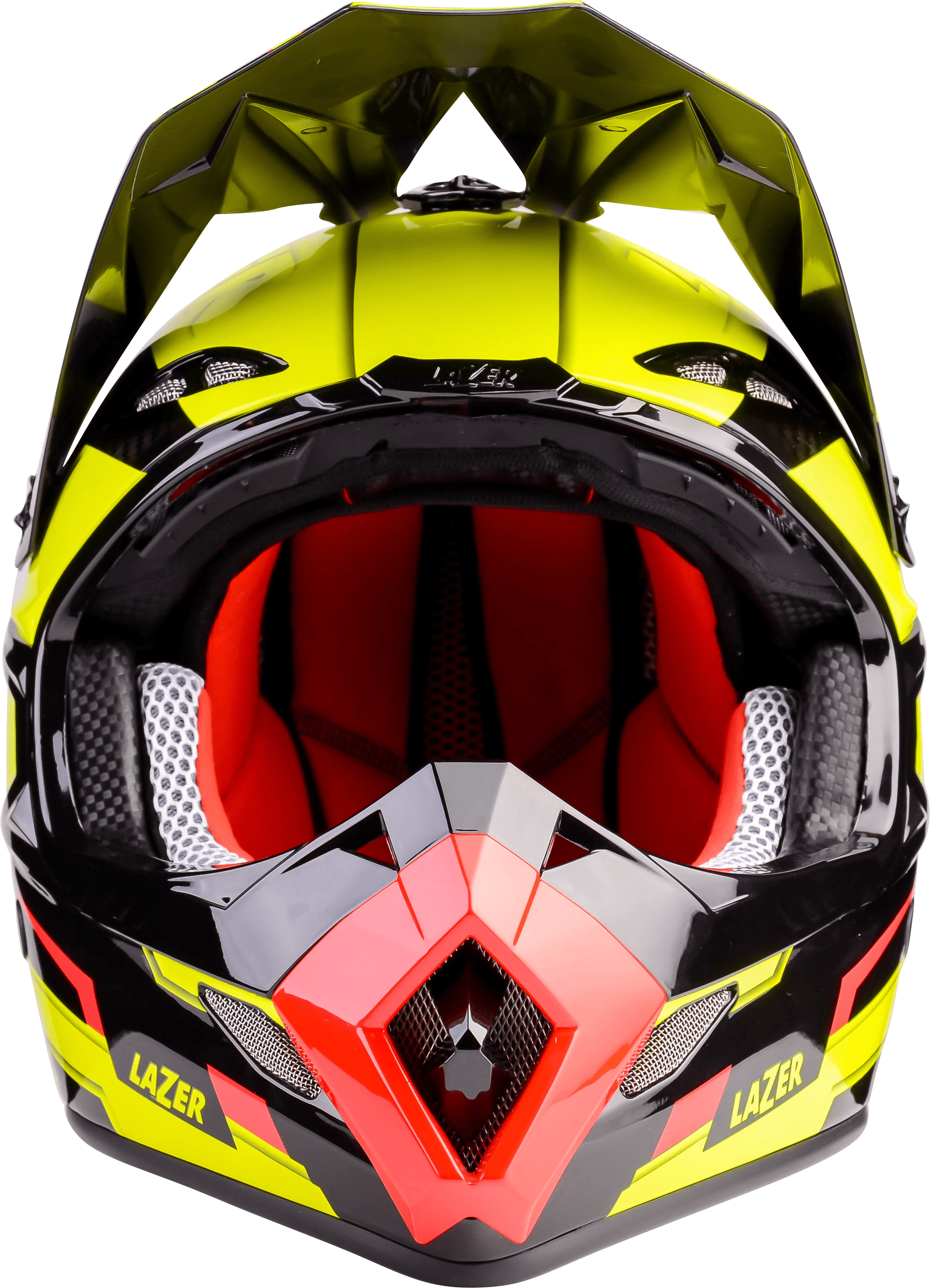 Motorcycle Helmet Lazer MX8 Geotech Pure Carbon Yellow Black Red Front - Motorcycle Helmet PNG